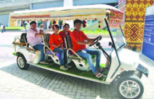 Jolly ride on golf carts for delegates